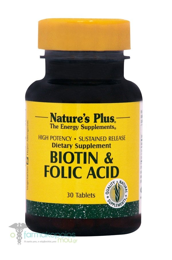 Nature's Plus Biotin 2mg & Folic Acid 800mcg SR, 30 tabs
