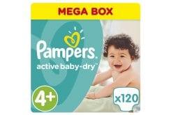 """Εικόνα του """"Pampers Active Baby Dry Mega Pack No.4+ (Maxi+) 9-18 kg Βρεφικές Πάνες, 120 τεμάχια"""""""