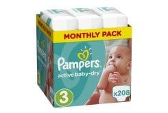Pampers Active Baby Dry Monthly Pack No.3 (Midi) 5-9 kg Βρεφικές Πάνες, 208 τεμάχια