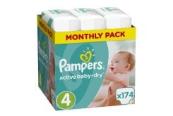 Pampers Active Baby Dry Monthly Pack No.4 Maxi (8-14 kg) Βρεφικές Πάνες, 174 τεμάχια
