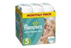Pampers Active Baby Dry Monthly Pack No.5 Junior (11-18kg) Βρεφικές Πάνες, 150 τεμάχια