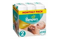 Pampers Premium Care Monthly Pack No.2 Mini (3-6 kg) Βρεφικές Πάνες, 240 τεμάχια
