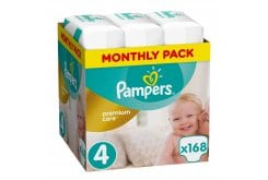 Pampers Premium Care Monthly Pack No.4 (Maxi) 8-14 kg Βρεφικές Πάνες, 168 τεμάχια