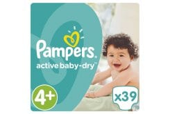 Pampers Active Baby Dry Value Pack No.4+ (Maxi+) 9-16 kg Nappies, 39 pcs