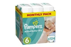 Pampers Active Baby Dry Monthly Pack No.6 Extra Large (15+kg) Βρεφικές Πάνες, 124 τεμάχια