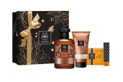 Apivita PROMO με Royal Honey Shower Gel Κρεμώδες Αφρόλουτρο, 300ml, Royal Honey Moisturizing Body Cream Πλούσιο Ενυδατικό Γαλάκτωμα, 200ml, Lip Care Honey Bio-Eco Balm Χειλιών με Μέλι, 4.4 gr & Φυσικό Σαπούνι με Μέλι, 125gr