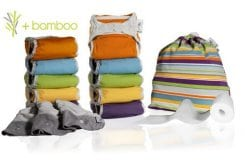 Pop-in Μεσαίο κουτί με πάνες από bamboo (λαμπερά χρώματα), 10 Pop-in πάνες νέας γενιάς, 3 επιθέματα νύχτας, 80 βιοδιασπώμενα φύλλα, 1 τσάντα tote
