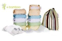Pop-in Μεσαίο κουτί ανάμεικτα Bamboo & Minkee (παστέλ χρώματα), 7 πάνες bamboo, 3 πάνες minkee, 3 νυχτερινά επιθέματα, 1 ρολλό χαρτάκια, μία μικρή τσάντα για τα άπλυτα