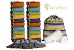 Pop-in Μεγάλο κουτί με πάνες από bamboo (λαμπερά χρώματα) 20 Pop-in πάνες νέας γενιάς, 6 επιθέματα νύχτας, 2 ρολά από 80 βιοδιασπώμενα φύλλα (συνολικά 160 φύλλα), 1 τσάντα tote