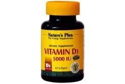 Nature's Plus Vitamin D3 5.000 IU, 60 softgels