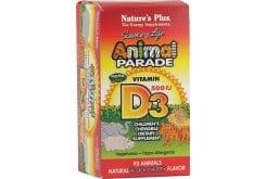 Nature's Plus Animal Parade Vitamin D3 Ζωάκια Βιταμίνης D3 για Παιδιά, με γεύση κεράσι, 90 gummies