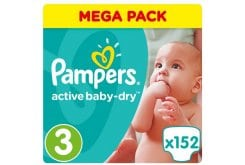 Pampers Active Baby Dry Mega Pack No.3 Midi (5-9 kg) Βρεφικές Πάνες, 152 τεμάχια