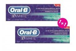 """Εικόνα του """"OralB 3D White Revitalize Λευκαντική Οδοντόκρεμα (1+1 ΔΩΡΟ), 2 x 75ml """""""