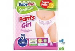 Babylino Pants Girl x6 Junior Νο.5 (12-18 kg), 108 pcs