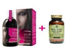 """Εικόνα του """"Solgar ΣΕΤ ΟΛΟΚΛΗΡΩΜΕΝΗΣ ΛΥΣΗΣ για την Καλή Υγεία του Δέρματος, των Μαλλιών & των Νυχιών, με MyElements Beautin Collagen Πόσιμο Κολλαγόνο, με γεύση Φράουλα - Βανίλια, 500ml & μαζί Solgar Skin, Nails & Hair Formula Πολυφόρμουλα, 60 tabs"""""""