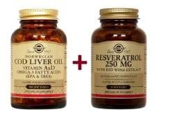 """Εικόνα του """"Solgar ΣΕΤ ΟΛΟΚΛΗΡΩΜΕΝΗΣ ΛΥΣΗΣ για την Καλή Υγεία του Καρδιαγγειακού Συστήματος με Solgar Norwegian Cod Liver Oil Μουρουνέλαιο, 100 caps & μαζί Solgar Resveratrol 250 mg Ρεσβερατρόλη, 30 caps"""""""