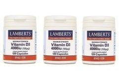 """Εικόνα του """"3x Lamberts Vitamin D3 4000iu (100μg),3x 120caps """""""