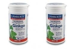 2x LAMBERTS GINKGO BILOBA EXTRACT 6000MG, 2x180 tabs