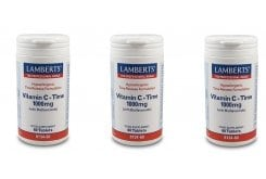 3x LAMBERTS Vitamin C Time Release 1000MG με Bioflavonoids , 3x 60 tabs