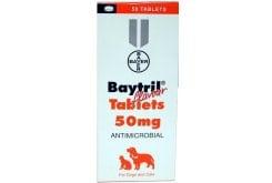 Bayer Baytril 50 mg Αντιμικροβιακά Δισκία για το Σκύλο & τη Γάτα, 30 tabs