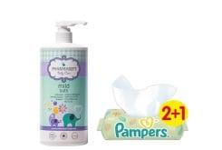 Pharmasept Tol Velvet Baby Mild Bath Παιδικό Αφρόλουτρο για σώμα & μαλλιά,1 lt & ΜΑΖΙ Pampers Natural Clean Wipes (2+1 ΔΩΡΟ) Μωρομάντηλα για την Αλλαγή Πάνας, 3 x 64 τεμάχια