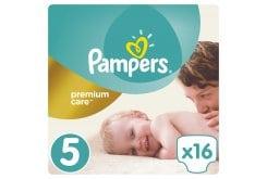 Pampers Premium Care Carry Pack No.5 Junior (11-18 kg) Βρεφικές Πάνες, 16 τεμάχια
