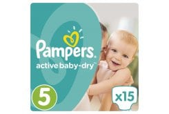 Pampers Active Baby Dry Carry Pack No.5 (Junior) 11-18 kg Βρεφικές Πάνες, 15 τεμάχια