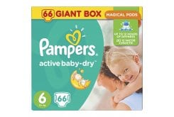 Pampers Active Baby Dry Giant Pack No.6 Extra Large 15+ kg Βρεφικές Πάνες, 66 τεμάχια