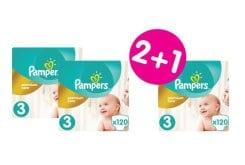 """Εικόνα του """"3 x Pampers Premium Care Mega Pack No.3 (Midi) 5-9 kg (2+1 ΔΩΡΟ) Βρεφικές Πάνες, 3 x 120 τεμάχια"""""""