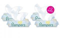 4 x Pampers Fresh Clean (2+2 ΔΩΡΟ) Μωρομάντηλα με Αναζωογονητικό Άρωμα, 4 x 64 τεμάχια