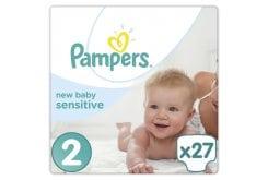 Pampers New Baby Sensitive Mini No. 2 (3-6 Kg) Βρεφικές Πάνες, 27 τεμάχια