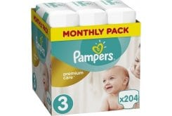 Pampers Premium Care Monthly Pack No.3 (Midi) 5-9 kg Βρεφικές Πάνες, 204 τεμάχια