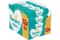 Pampers Sensitive Wipes Μωρομάντηλα για το ευαίσθητο δερματάκι του μωρού, 12 x 52 τεμάχια