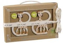 Sophie la Girafe so Pure Twin Teething Rings 220110 Εύκαμπτοι Δακτύλιοι Οδοντοφυϊας με τη Σόφι την καμηλοπάρδαλη, 2 τεμάχια (soft version, 1 τεμάχιο & very soft version, 1 τεμάχιο)