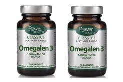 2 x Power Health CLASSICS Platinum Range, Omegalen 3 λιπαρά οξέα των 1.000mg, 2 x 30 κάψουλες