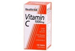 Health Aid Vitamin C 1000mg with Rosehip and Acerola Μασώμενη Βιταμίνη C, 100 chew. tabs