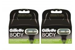 """Εικόνα του """"2 x Gillette Body (1+1) Ανταλλακτικές Λεπίδες Ειδικά Σχεδιασμένες για το Σώμα, 2 x 4 τεμάχια"""""""