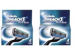 2 x Gillette Mach 3 Turbo Ανταλλακτικά για ανδρική ξυριστική μηχανή, 2 x 4 τεμάχια