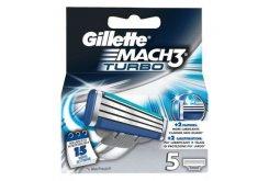 """Εικόνα του """"Gillette Mach 3 Turbo, Ανταλλακτικές κεφαλές με 3 πολύ λεπτές λεπίδες & ενισχυμένη λιπαντική ταινία, 5 τμχ"""""""