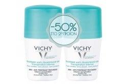 Vichy Deodorant Roll On 48h Εντατική Αποσμητική 48ωρη Φροντίδα με Υποαλλεργική Σύνθεση, Χωρίς Οινόπνευμα -50% ΕΚΠΤΩΣΗ ΣΤΟ 2ο ΠΡΟΪΟΝ, 2 x 50ml