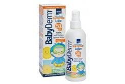 """Εικόνα του """"Intermed Babyderm Sunscreen Lotion SPF50 Παιδικό Αντηλιακό Γαλάκτωμα για Πρόσωπο & Σώμα, για Βρέφη 6m+, 200ml """""""