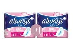Always Sensitive Ultra Super Plus Σερβιέτες με Φτερά (1+1 ΔΩΡΟ), 2 x 8 τεμάχια