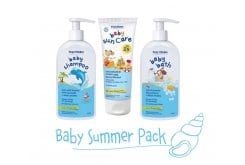Frezyderm Baby Summer Pack with Baby Sun Care SPF25, 100ml, Baby Bath, 200ml + 100ml FREE & Baby Shampoo, 200ml + 100ml FREE