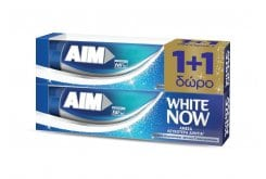 AIM White Now (1+1 ΔΩΡΟ) Οδοντόκρεμα για Άμεσα Λευκότερα Δόντια, 2 x 75 ml