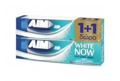 AIM White Now Ice Cool Mint (1+1 ΔΩΡΟ) Οδοντόκρεμα για Άμεσα Λευκότερα Δόντια, 2 x 75 ml