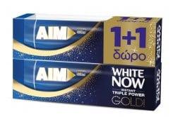 AIM White Now Gold (1+1 ΔΩΡΟ) Οδοντόκρεμα για Άμεσα Λευκότερα Δόντια, 2 x 50 ml