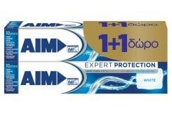 AIM Expert Protection White (1+1 ΔΩΡΟ) Οδοντόκρεμα Εμπνευσμένη από το Οδοντικό Νήμα & το Στοματικό Διάλυμα, 2x75 ml