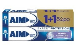 AIM Expert Protection Enamel Revitilise (1+1 ΔΩΡΟ) Οδοντόκρεμα Εμπνευσμένη από το Οδοντικό Νήμα & το Στοματικό Διάλυμα, 2 x 75 ml