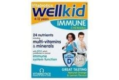 Vitabiotics Wellkid Immune Συμπλήρωμα Διατροφής για την Καλή Λειτουργία του Ανοσοποιητικού Συστήματος των Παιδιών, από 4-12 Ετών, με Γεύση Πορτοκάλι & Λεμόνι, 30 chew. tabs