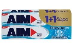 AIM Crystal Gel (1+1 ΔΩΡΟ) Οδοντόκρεμα με την αποκλειστική σύνθεση Gel για Έντονη Φρεσκάδα & Λευκότερα Δόντια, 2 x 75 ml